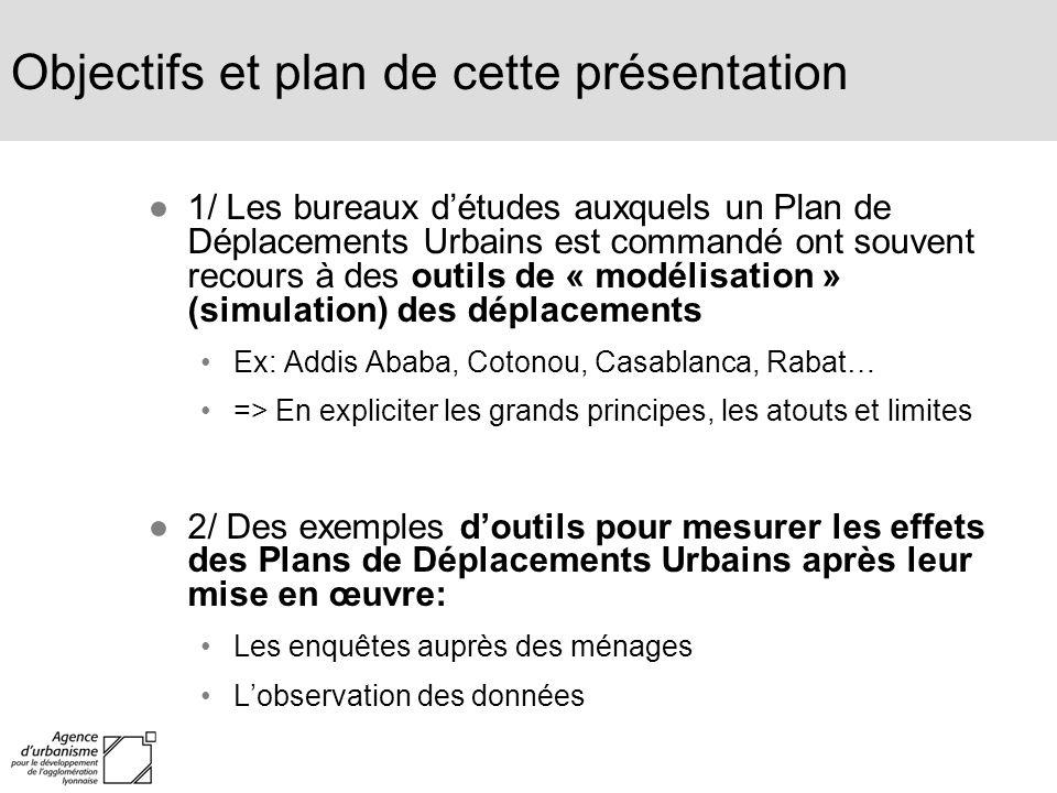 Objectifs et plan de cette présentation 1/ Les bureaux détudes auxquels un Plan de Déplacements Urbains est commandé ont souvent recours à des outils