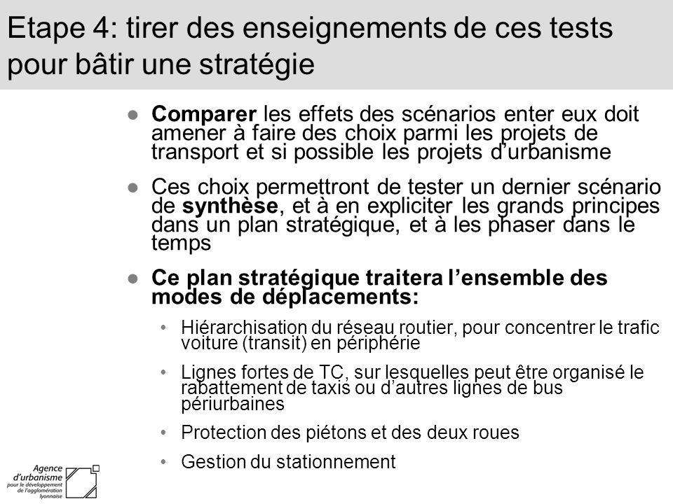 Comparer les effets des scénarios enter eux doit amener à faire des choix parmi les projets de transport et si possible les projets durbanisme Ces cho