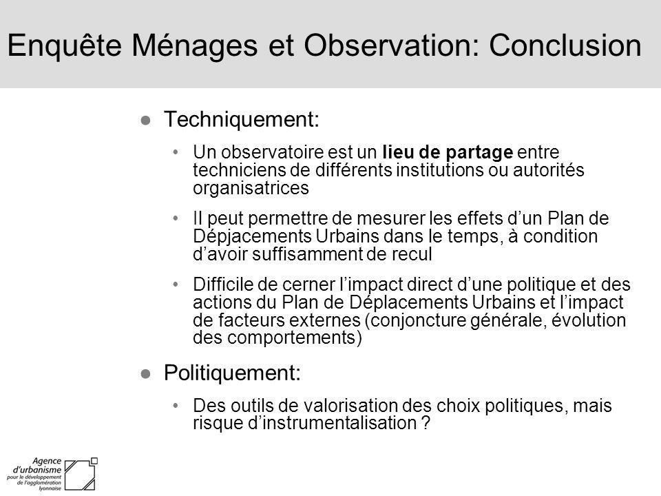 Enquête Ménages et Observation: Conclusion Techniquement: Un observatoire est un lieu de partage entre techniciens de différents institutions ou autor