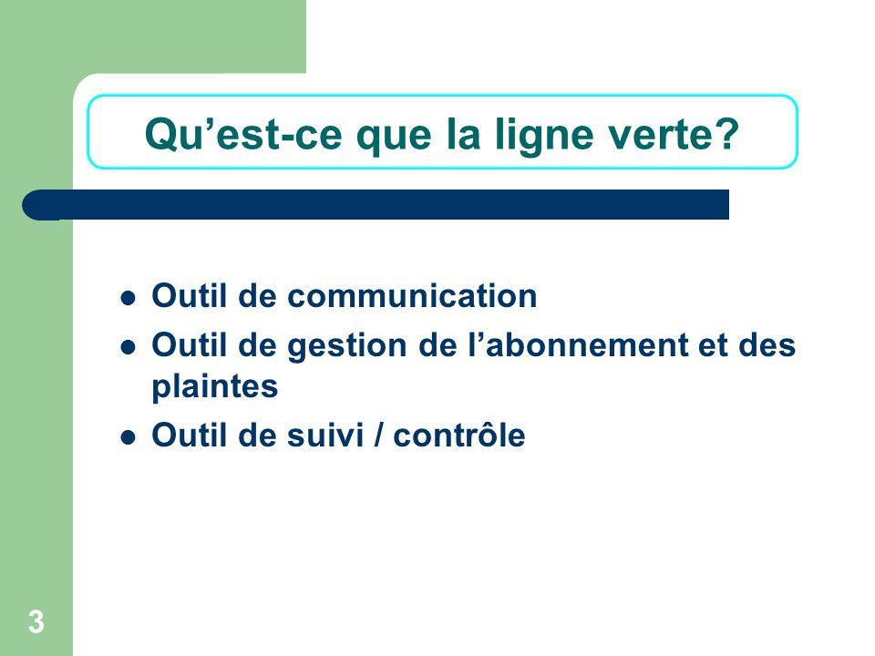 3 Quest-ce que la ligne verte? Outil de communication Outil de gestion de labonnement et des plaintes Outil de suivi / contrôle