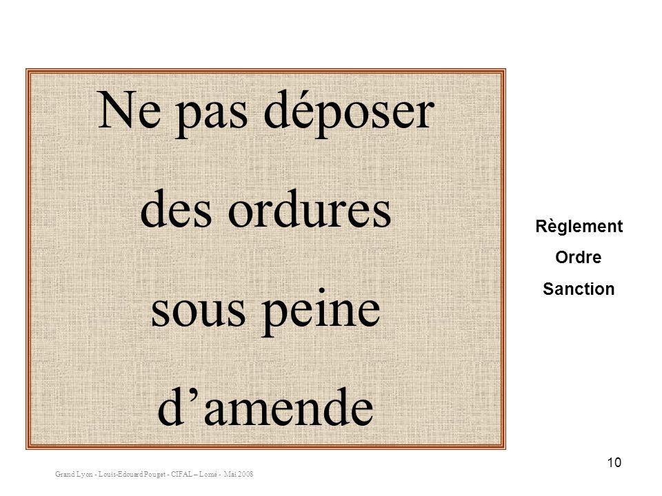 Grand Lyon - Louis-Edouard Pouget - CIFAL – Lomé - Mai 2008 10 Ne pas déposer des ordures sous peine damende Règlement Ordre Sanction