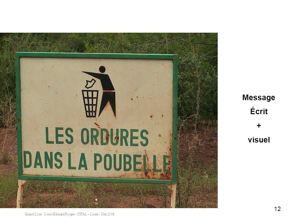 Grand Lyon - Louis-Edouard Pouget - CIFAL – Lomé - Mai 2008 12 Message Écrit + visuel