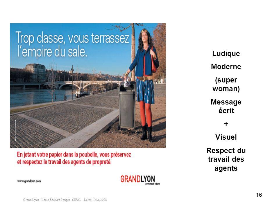 Grand Lyon - Louis-Edouard Pouget - CIFAL – Lomé - Mai 2008 16 Ludique Moderne (super woman) Message écrit + Visuel Respect du travail des agents