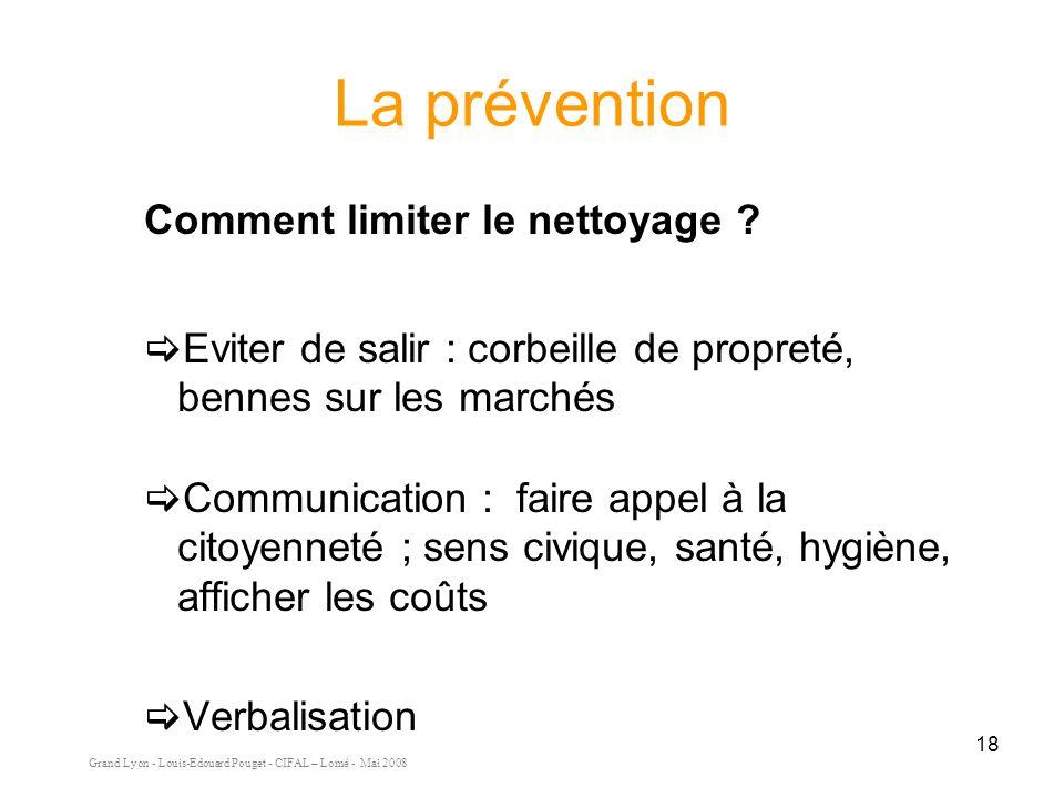 Grand Lyon - Louis-Edouard Pouget - CIFAL – Lomé - Mai 2008 18 La prévention Comment limiter le nettoyage .