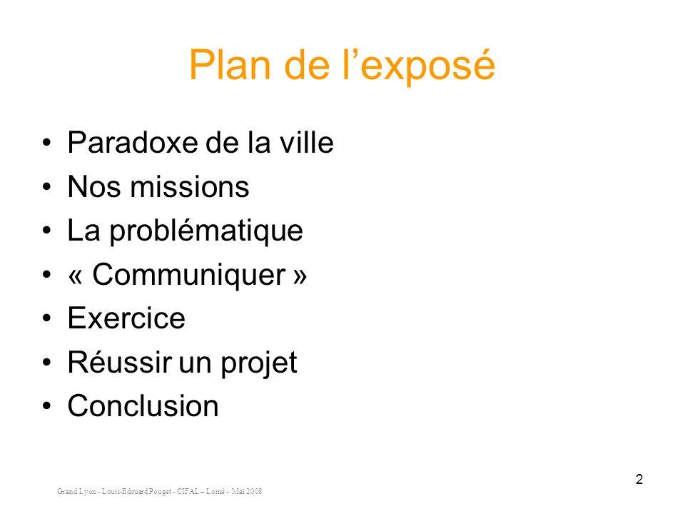 Grand Lyon - Louis-Edouard Pouget - CIFAL – Lomé - Mai 2008 2 Plan de lexposé Paradoxe de la ville Nos missions La problématique « Communiquer » Exercice Réussir un projet Conclusion