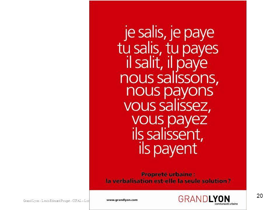 Grand Lyon - Louis-Edouard Pouget - CIFAL – Lomé - Mai 2008 20