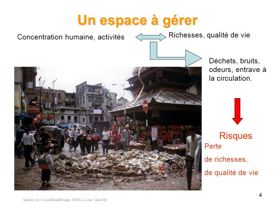 Grand Lyon - Louis-Edouard Pouget - CIFAL – Lomé - Mai 2008 4 Concentration humaine, activités Richesses, qualité de vie Déchets, bruits, odeurs, entrave à la circulation.