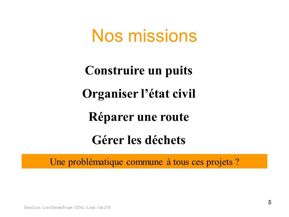 Grand Lyon - Louis-Edouard Pouget - CIFAL – Lomé - Mai 2008 5 Nos missions Construire un puits Organiser létat civil Réparer une route Gérer les déchets Une problématique commune à tous ces projets ?