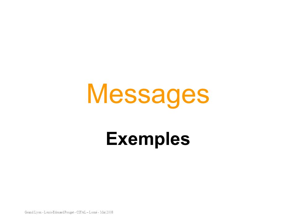 Grand Lyon - Louis-Edouard Pouget - CIFAL – Lomé - Mai 2008 Messages Exemples