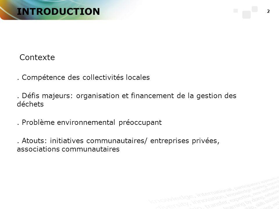 2 INTRODUCTION Contexte. Compétence des collectivités locales.