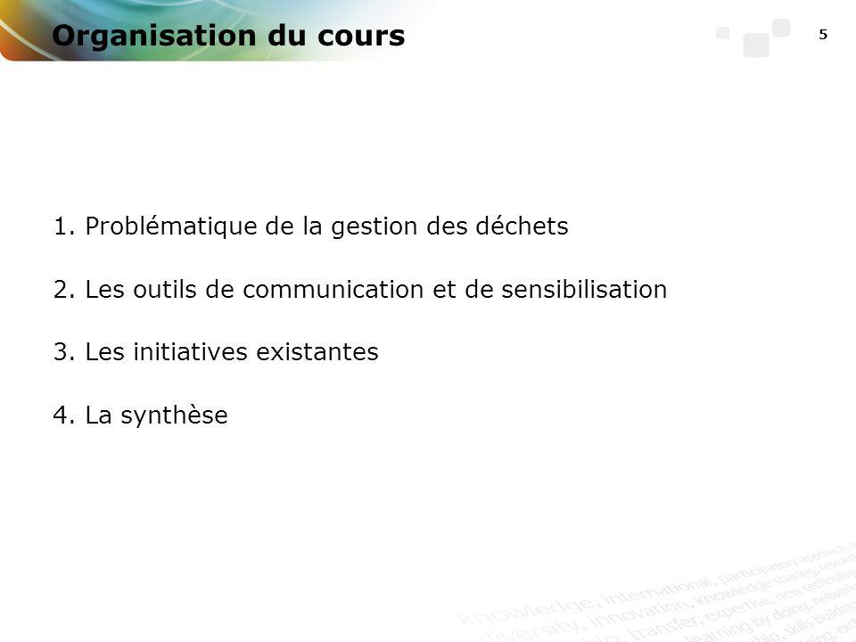 5 Organisation du cours 1. Problématique de la gestion des déchets 2.