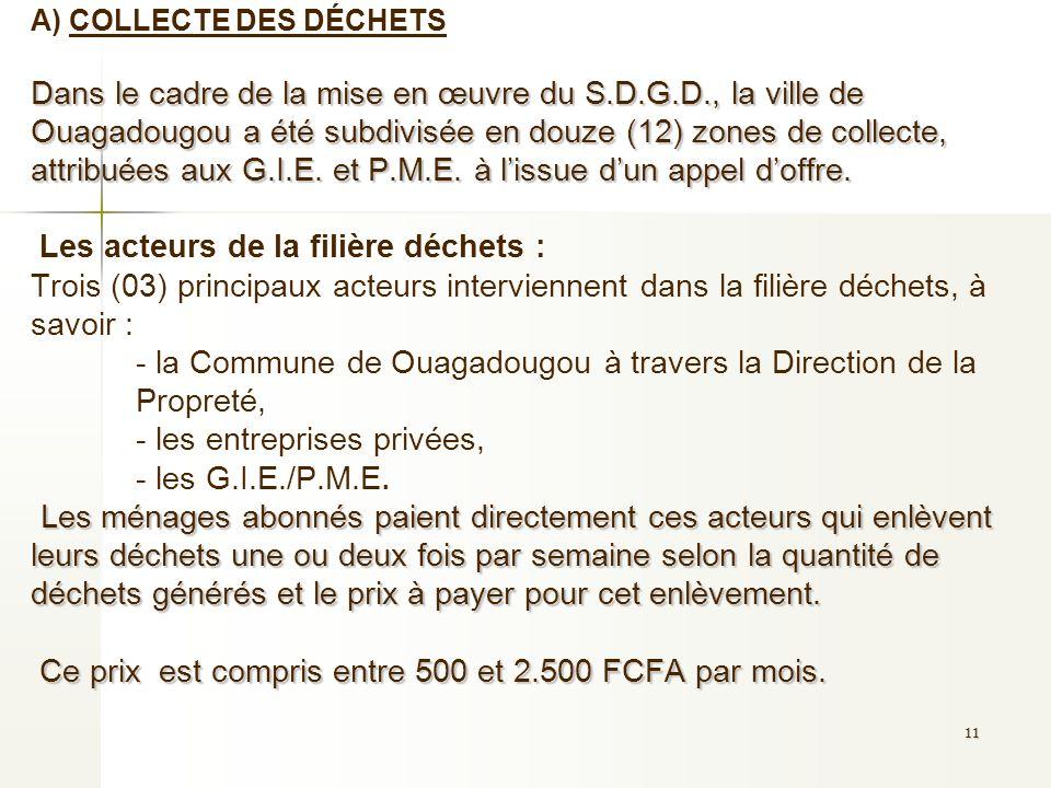 11 Dans le cadre de la mise en œuvre du S.D.G.D., la ville de Ouagadougou a été subdivisée en douze (12) zones de collecte, attribuées aux G.I.E. et P