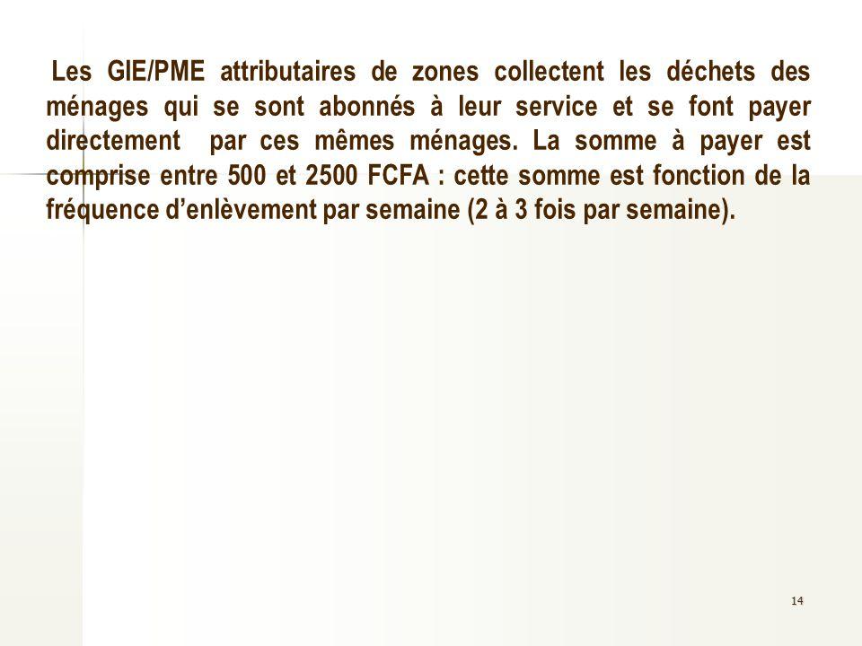 14 Les GIE/PME attributaires de zones collectent les déchets des ménages qui se sont abonnés à leur service et se font payer directement par ces mêmes