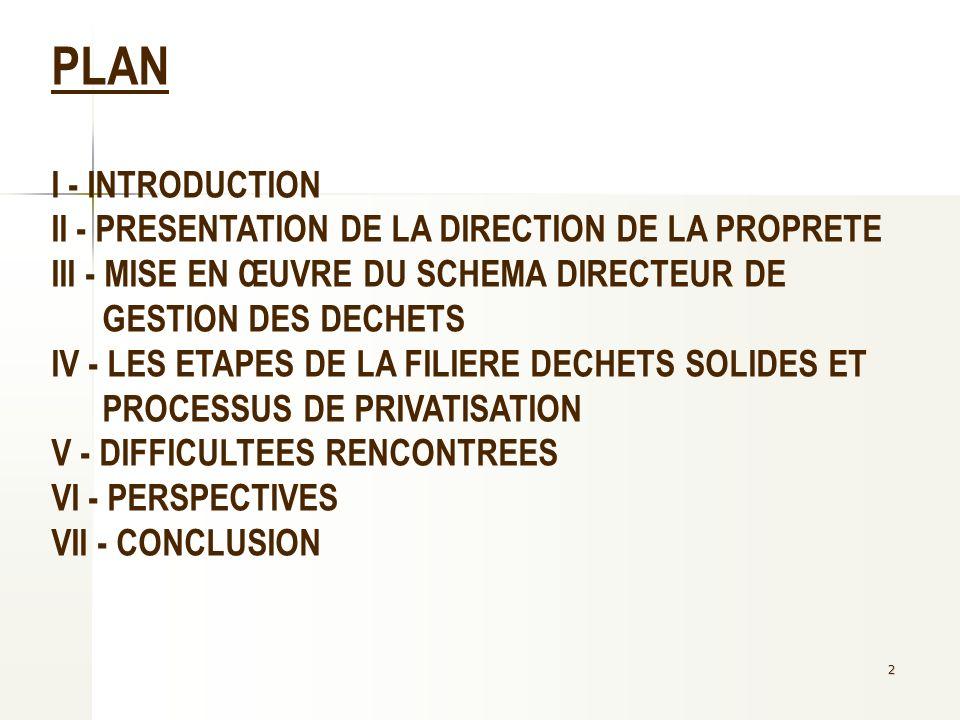 2 PLAN I - INTRODUCTION II - PRESENTATION DE LA DIRECTION DE LA PROPRETE III - MISE EN ŒUVRE DU SCHEMA DIRECTEUR DE GESTION DES DECHETS IV - LES ETAPE