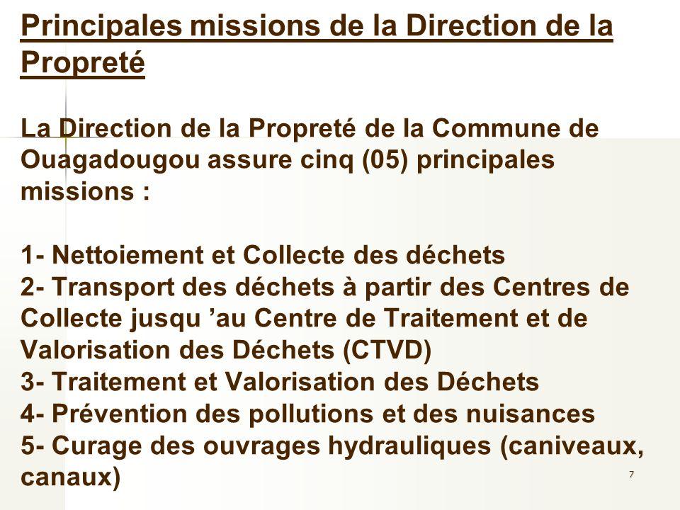 7 Principales missions de la Direction de la Propreté La Direction de la Propreté de la Commune de Ouagadougou assure cinq (05) principales missions :