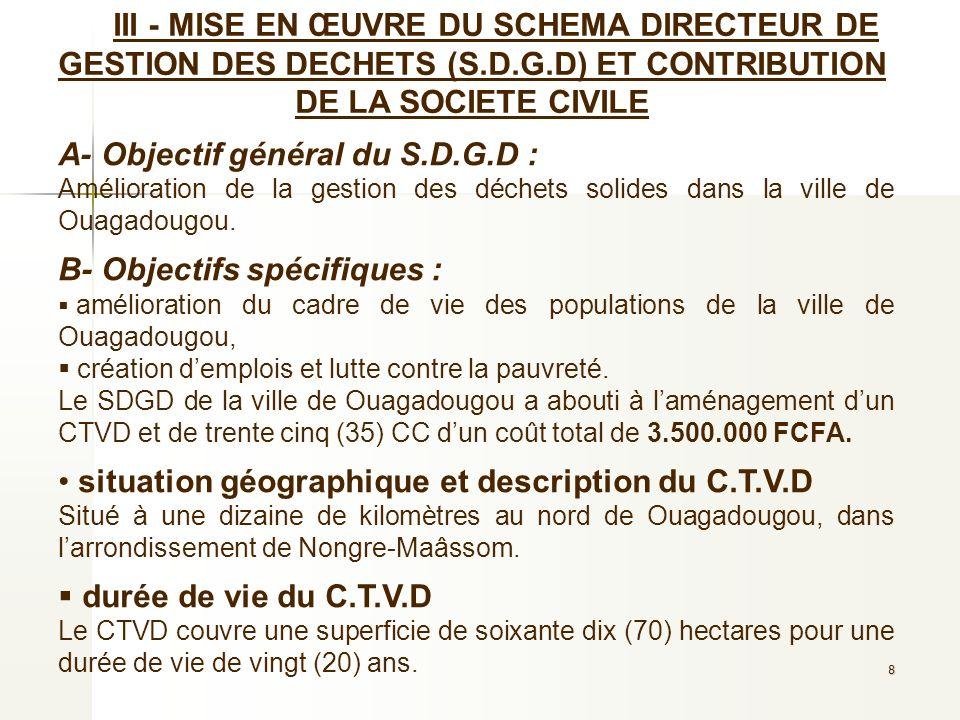 8 III - MISE EN ŒUVRE DU SCHEMA DIRECTEUR DE GESTION DES DECHETS (S.D.G.D) ET CONTRIBUTION DE LA SOCIETE CIVILE A- Objectif général du S.D.G.D : Améli