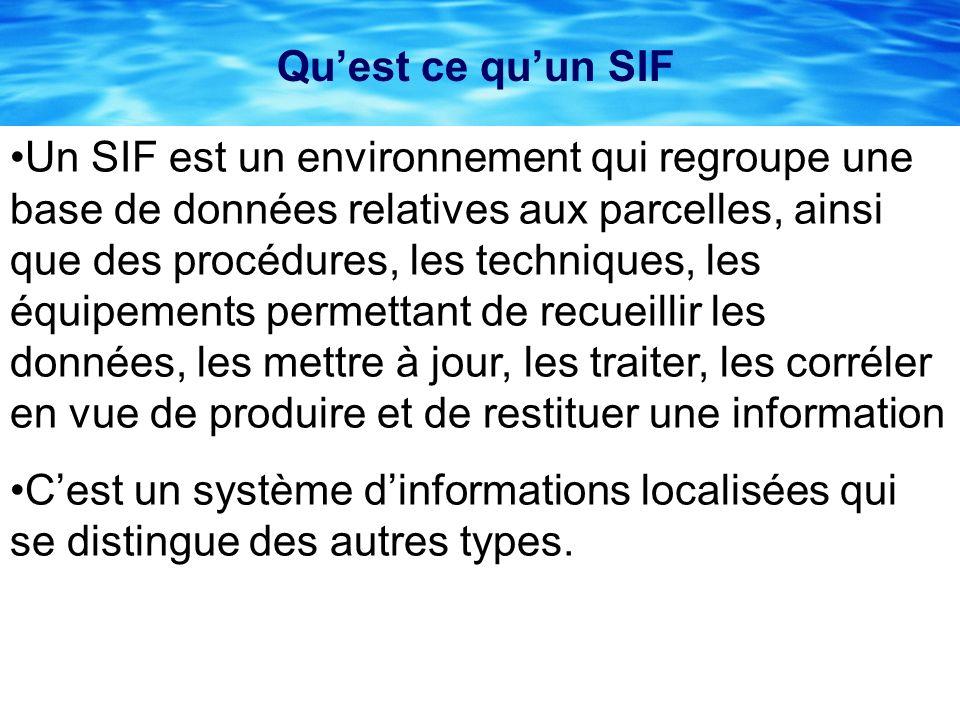Quest ce quun SIF Un SIF est un environnement qui regroupe une base de données relatives aux parcelles, ainsi que des procédures, les techniques, les