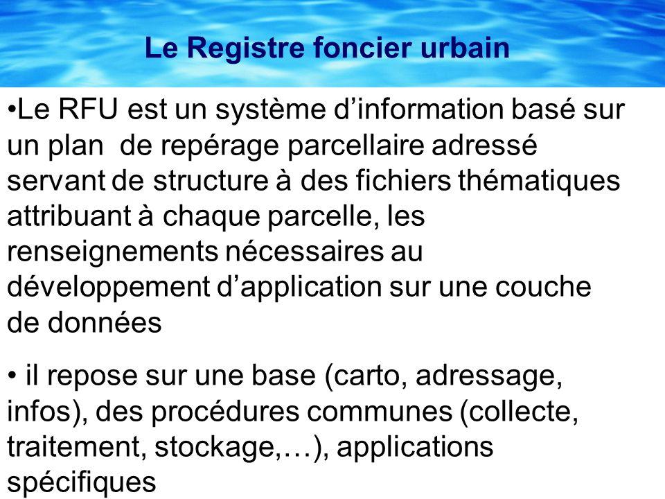 Le Registre foncier urbain Le RFU est un système dinformation basé sur un plan de repérage parcellaire adressé servant de structure à des fichiers thé