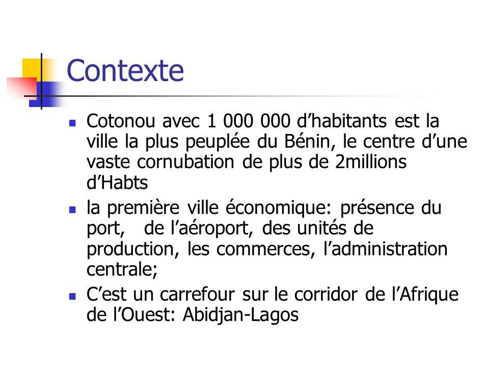 Contexte Cotonou avec 1 000 000 dhabitants est la ville la plus peuplée du Bénin, le centre dune vaste cornubation de plus de 2millions dHabts la prem