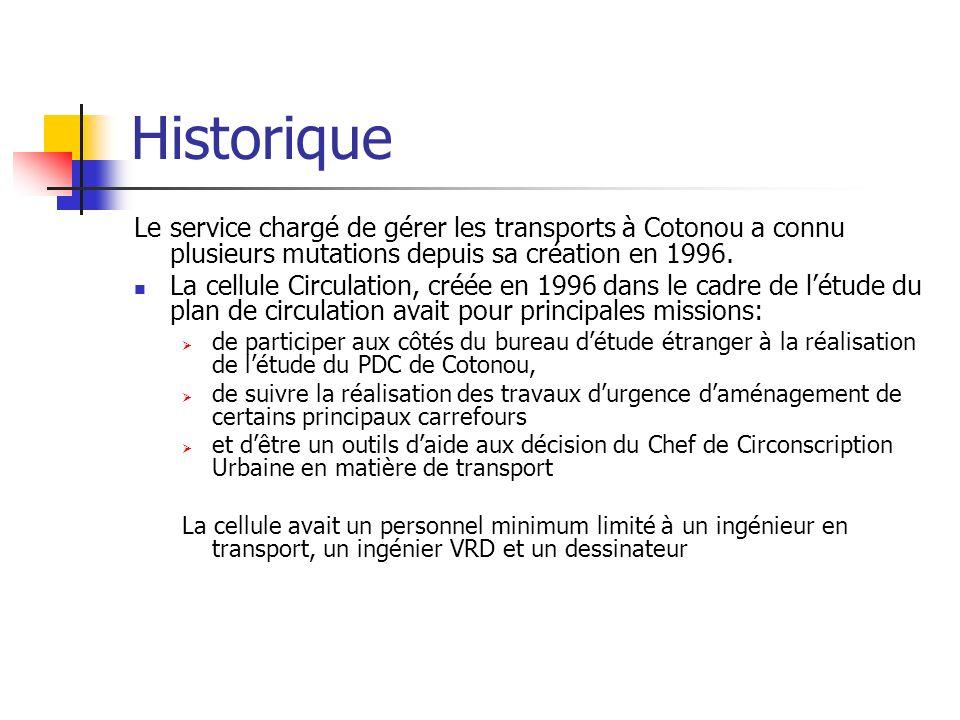 Historique Le service chargé de gérer les transports à Cotonou a connu plusieurs mutations depuis sa création en 1996. La cellule Circulation, créée e