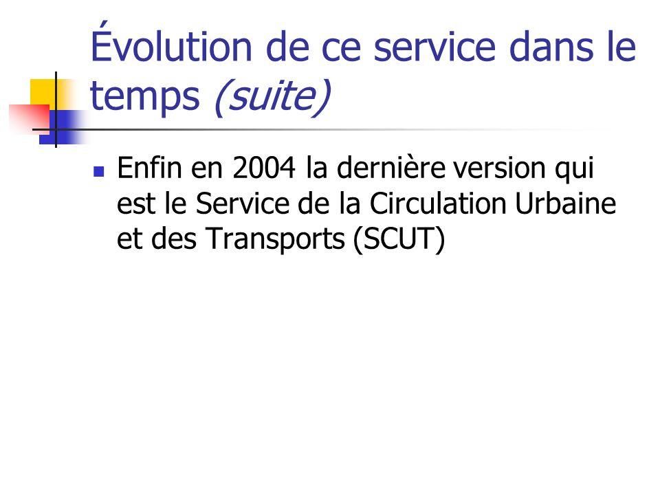 Évolution de ce service dans le temps (suite) Enfin en 2004 la dernière version qui est le Service de la Circulation Urbaine et des Transports (SCUT)