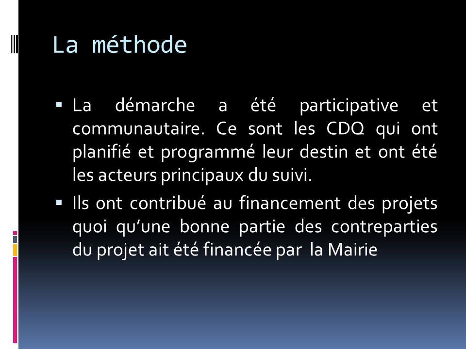 La méthode La démarche a été participative et communautaire. Ce sont les CDQ qui ont planifié et programmé leur destin et ont été les acteurs principa