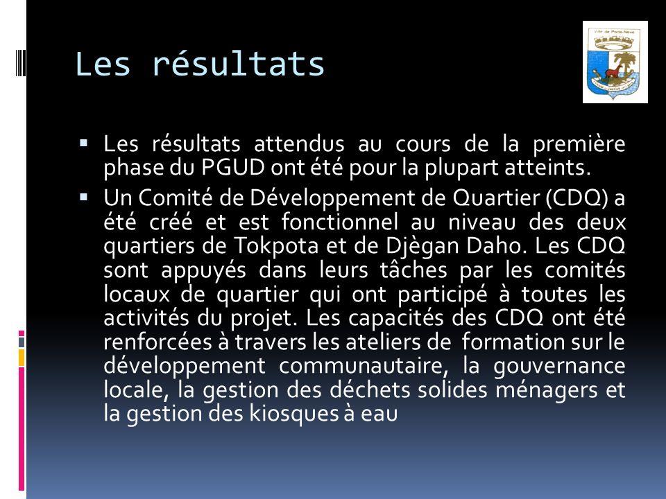 Les résultats Les résultats attendus au cours de la première phase du PGUD ont été pour la plupart atteints. Un Comité de Développement de Quartier (C