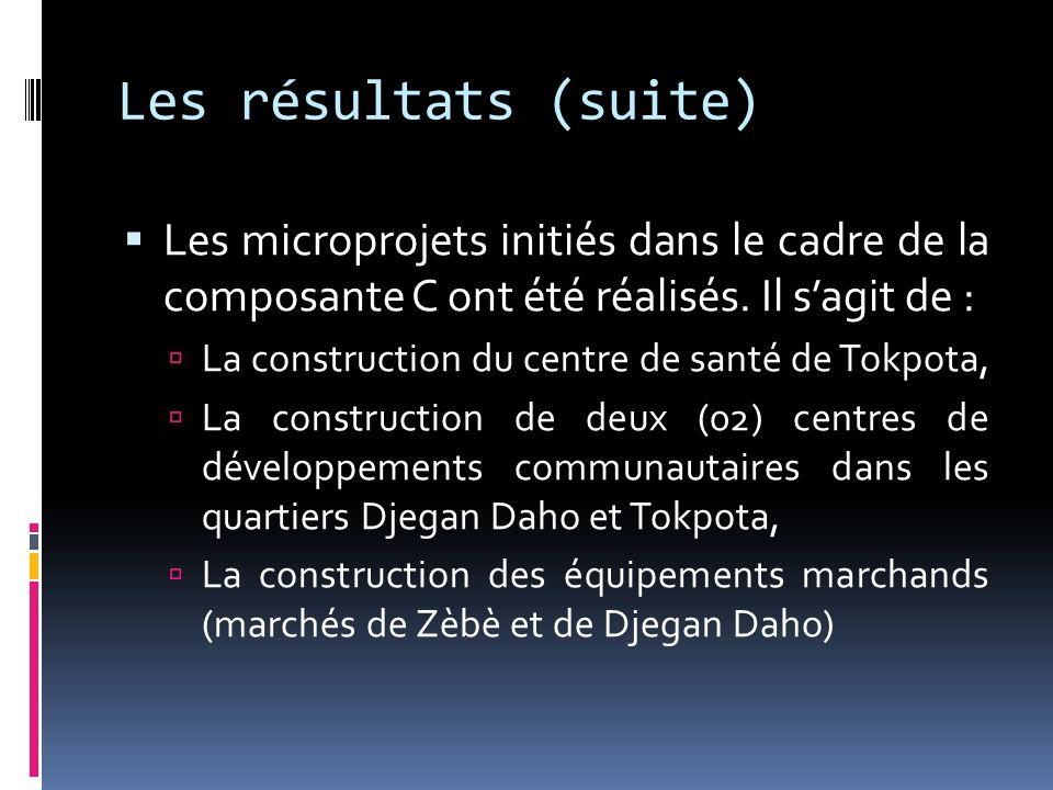 Les résultats (suite) Les microprojets initiés dans le cadre de la composante C ont été réalisés. Il sagit de : La construction du centre de santé de
