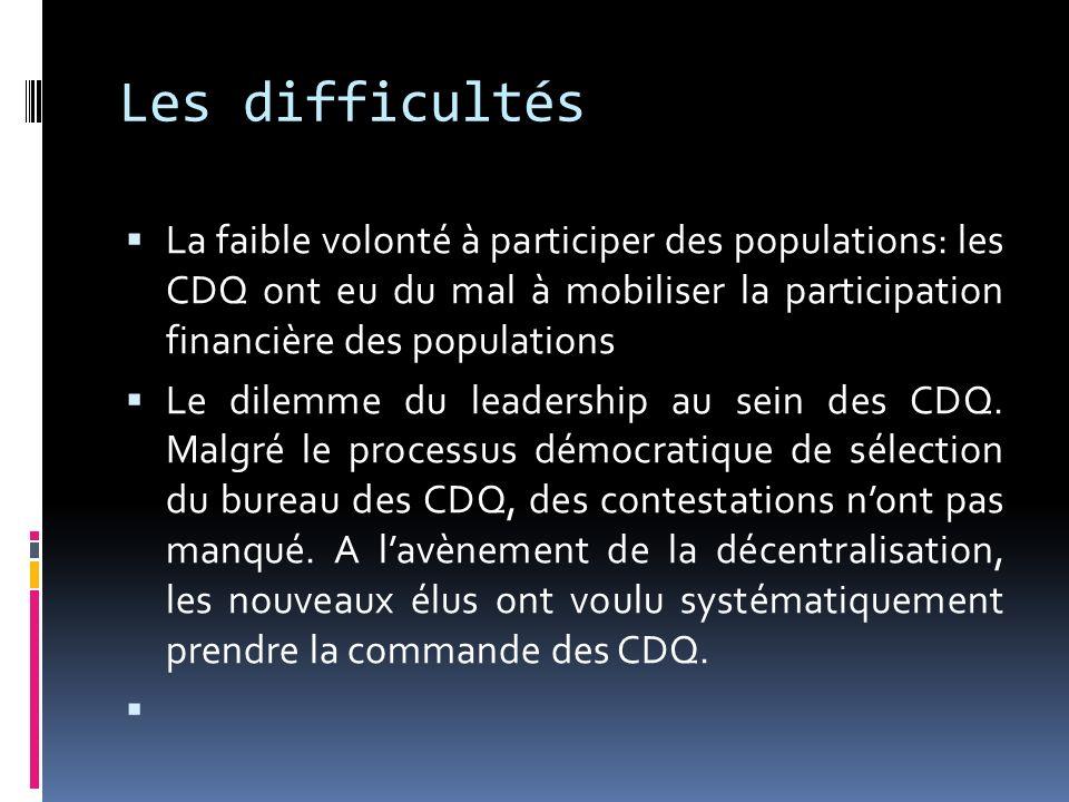 Les difficultés La faible volonté à participer des populations: les CDQ ont eu du mal à mobiliser la participation financière des populations Le dilem
