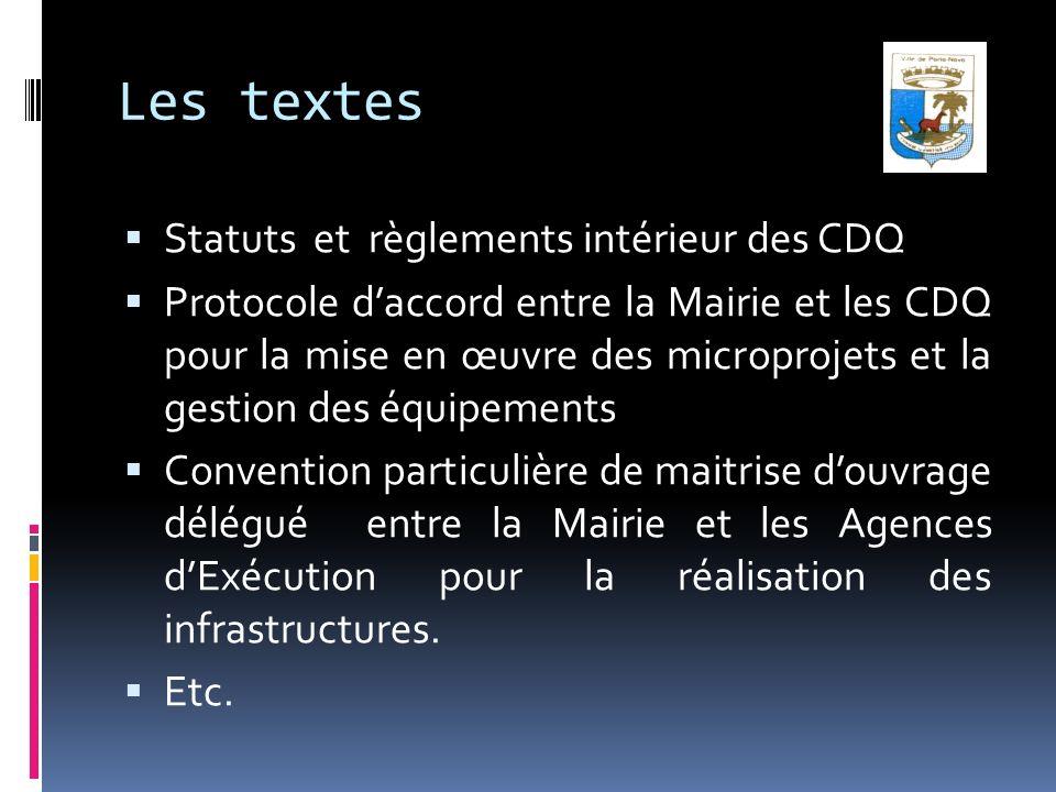 Les textes Statuts et règlements intérieur des CDQ Protocole daccord entre la Mairie et les CDQ pour la mise en œuvre des microprojets et la gestion d