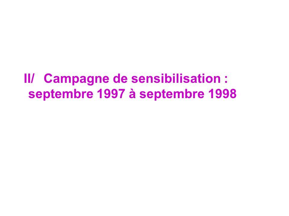 II/ Campagne de sensibilisation : septembre 1997 à septembre 1998