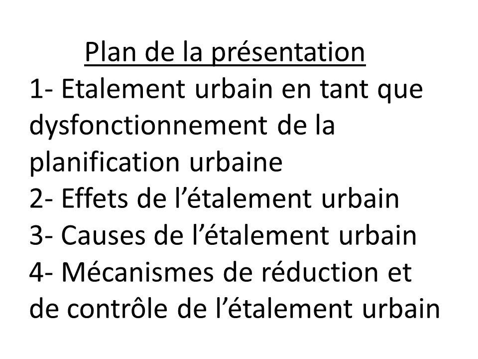 Plan de la présentation 1- Etalement urbain en tant que dysfonctionnement de la planification urbaine 2- Effets de létalement urbain 3- Causes de létalement urbain 4- Mécanismes de réduction et de contrôle de létalement urbain