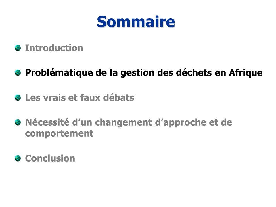 Sommaire Introduction Problématique de la gestion des déchets en Afrique Les vrais et faux débats Nécessité dun changement dapproche et de comportement Conclusion