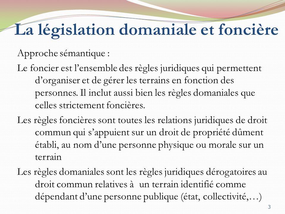 La législation domaniale et foncière Approche sémantique : Le foncier est lensemble des règles juridiques qui permettent dorganiser et de gérer les terrains en fonction des personnes.
