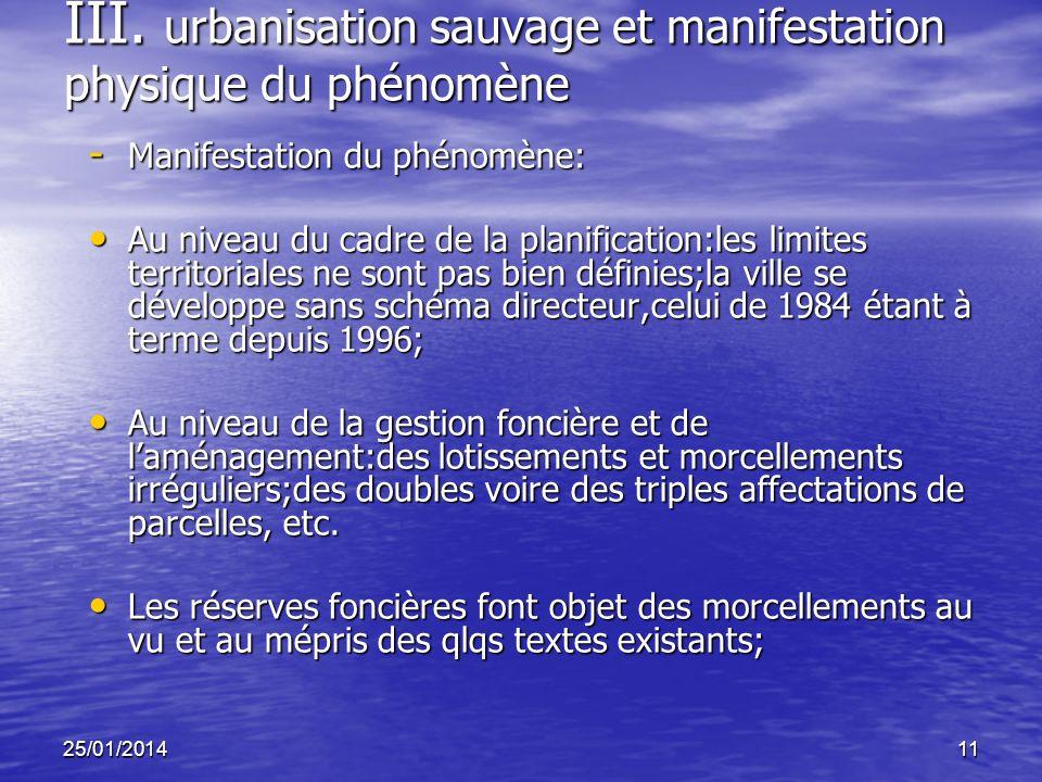 25/01/201411 III. urbanisation sauvage et manifestation physique du phénomène - Manifestation du phénomène: Au niveau du cadre de la planification:les