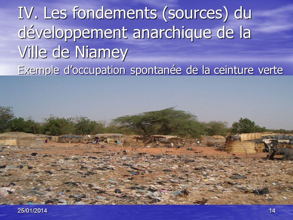 25/01/201414 IV. Les fondements (sources) du développement anarchique de la Ville de Niamey Exemple doccupation spontanée de la ceinture verte