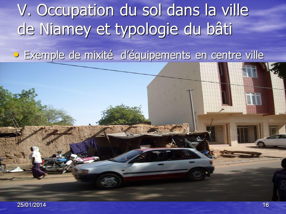 25/01/201416 V. Occupation du sol dans la ville de Niamey et typologie du bâti Exemple de mixité déquipements en centre ville Exemple de mixité déquip