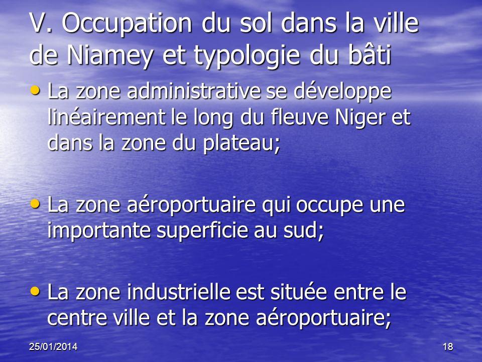 25/01/201418 V. Occupation du sol dans la ville de Niamey et typologie du bâti La zone administrative se développe linéairement le long du fleuve Nige