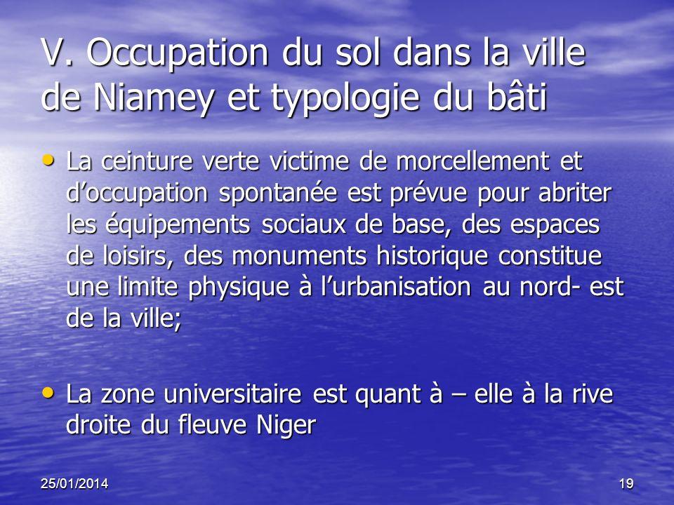 25/01/201419 V. Occupation du sol dans la ville de Niamey et typologie du bâti La ceinture verte victime de morcellement et doccupation spontanée est