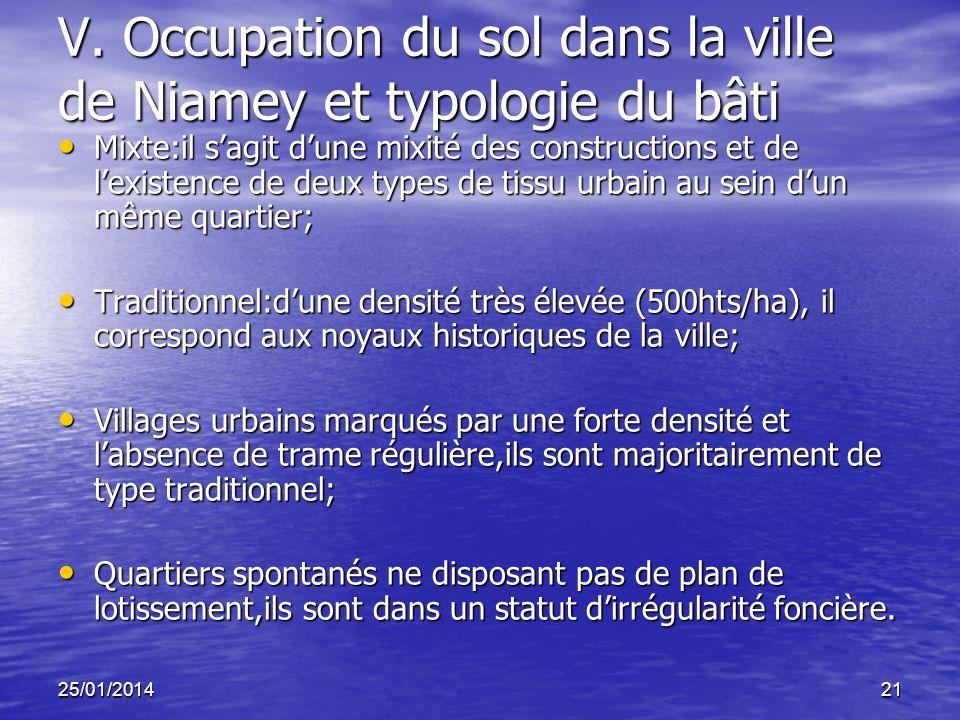 25/01/201421 V. Occupation du sol dans la ville de Niamey et typologie du bâti Mixte:il sagit dune mixité des constructions et de lexistence de deux t