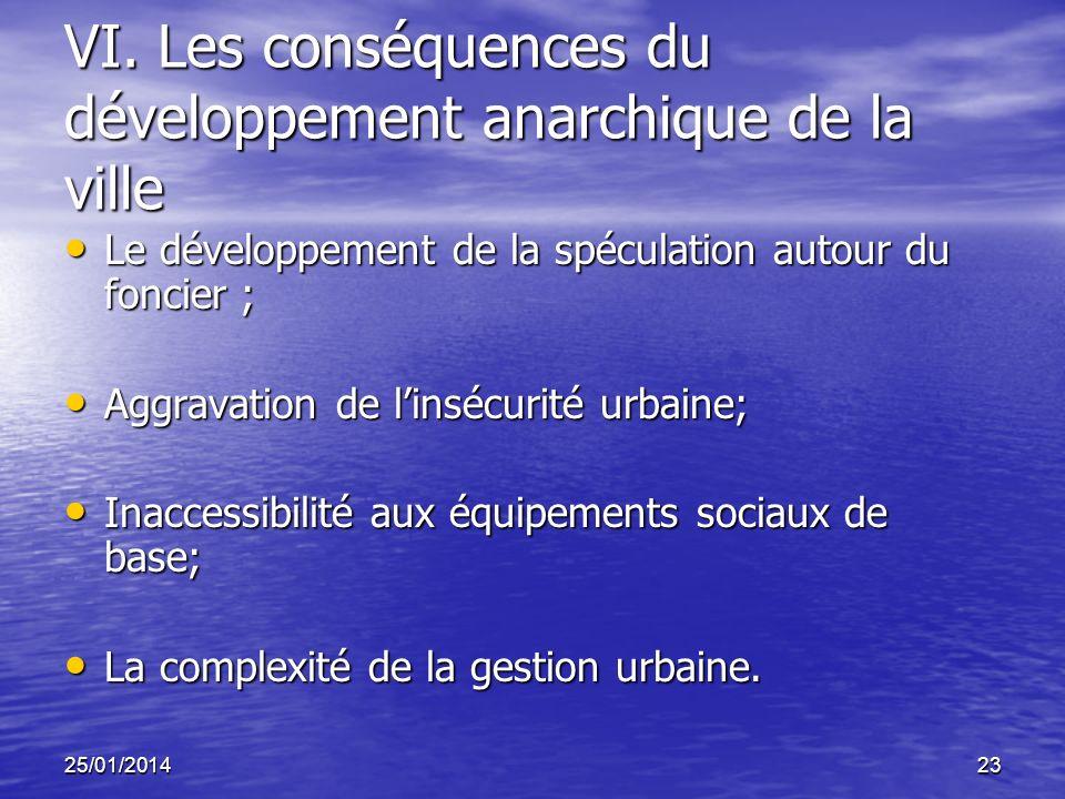 25/01/201423 VI. Les conséquences du développement anarchique de la ville Le développement de la spéculation autour du foncier ; Le développement de l
