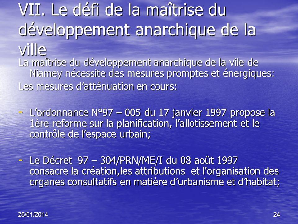 25/01/201424 VII. Le défi de la maîtrise du développement anarchique de la ville La maîtrise du développement anarchique de la vile de Niamey nécessit