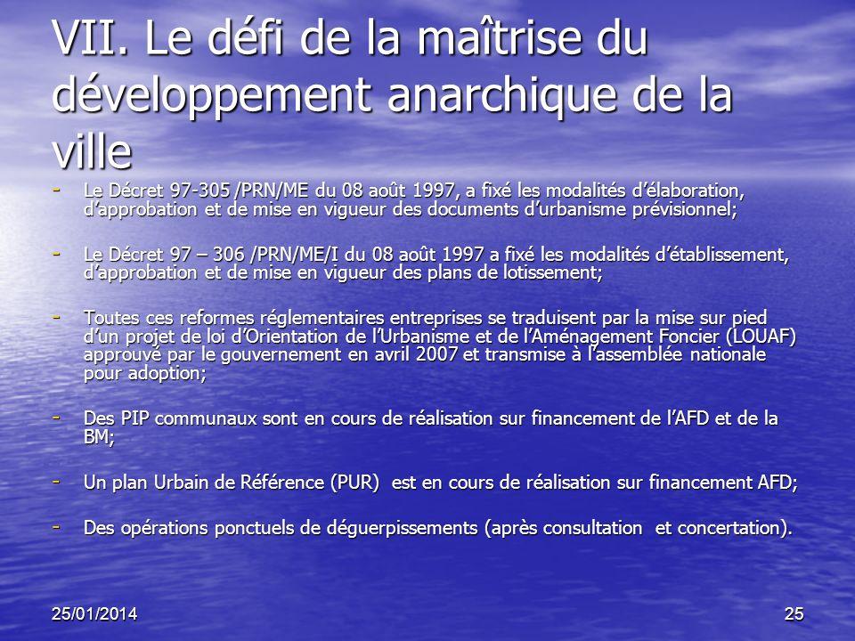 25/01/201425 VII. Le défi de la maîtrise du développement anarchique de la ville - Le Décret 97-305 /PRN/ME du 08 août 1997, a fixé les modalités déla