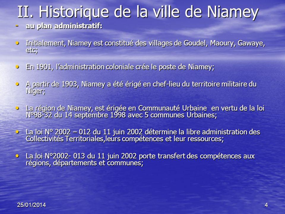 25/01/20144 II. Historique de la ville de Niamey - au plan administratif: Initialement, Niamey est constitué des villages de Goudel, Maoury, Gawaye, e