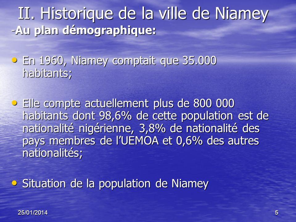25/01/20145 II. Historique de la ville de Niamey -Au plan démographique: En 1960, Niamey comptait que 35.000 habitants; En 1960, Niamey comptait que 3