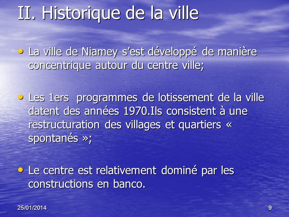 25/01/20149 II. Historique de la ville La ville de Niamey sest développé de manière concentrique autour du centre ville; La ville de Niamey sest dével
