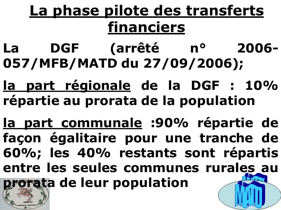 La phase pilote des transferts financiers La DGF (arrêté n° 2006- 057/MFB/MATD du 27/09/2006); la part régionale de la DGF : 10% répartie au prorata de la population la part communale :90% répartie de façon égalitaire pour une tranche de 60%; les 40% restants sont répartis entre les seules communes rurales au prorata de leur population