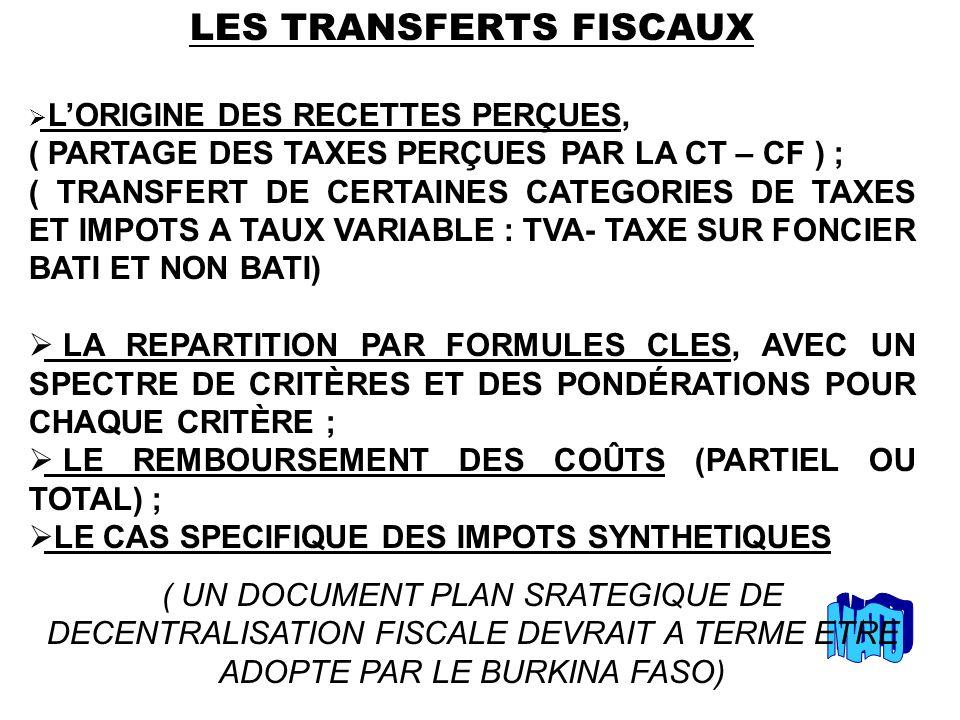 LES TRANSFERTS FISCAUX LORIGINE DES RECETTES PERÇUES, ( PARTAGE DES TAXES PERÇUES PAR LA CT – CF ) ; ( TRANSFERT DE CERTAINES CATEGORIES DE TAXES ET IMPOTS A TAUX VARIABLE : TVA- TAXE SUR FONCIER BATI ET NON BATI) LA REPARTITION PAR FORMULES CLES, AVEC UN SPECTRE DE CRITÈRES ET DES PONDÉRATIONS POUR CHAQUE CRITÈRE ; LE REMBOURSEMENT DES COÛTS (PARTIEL OU TOTAL) ; LE CAS SPECIFIQUE DES IMPOTS SYNTHETIQUES ( UN DOCUMENT PLAN SRATEGIQUE DE DECENTRALISATION FISCALE DEVRAIT A TERME ETRE ADOPTE PAR LE BURKINA FASO)