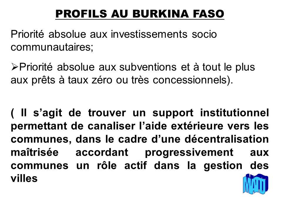 PROFILS AU BURKINA FASO Priorité absolue aux investissements socio communautaires; Priorité absolue aux subventions et à tout le plus aux prêts à taux zéro ou très concessionnels).