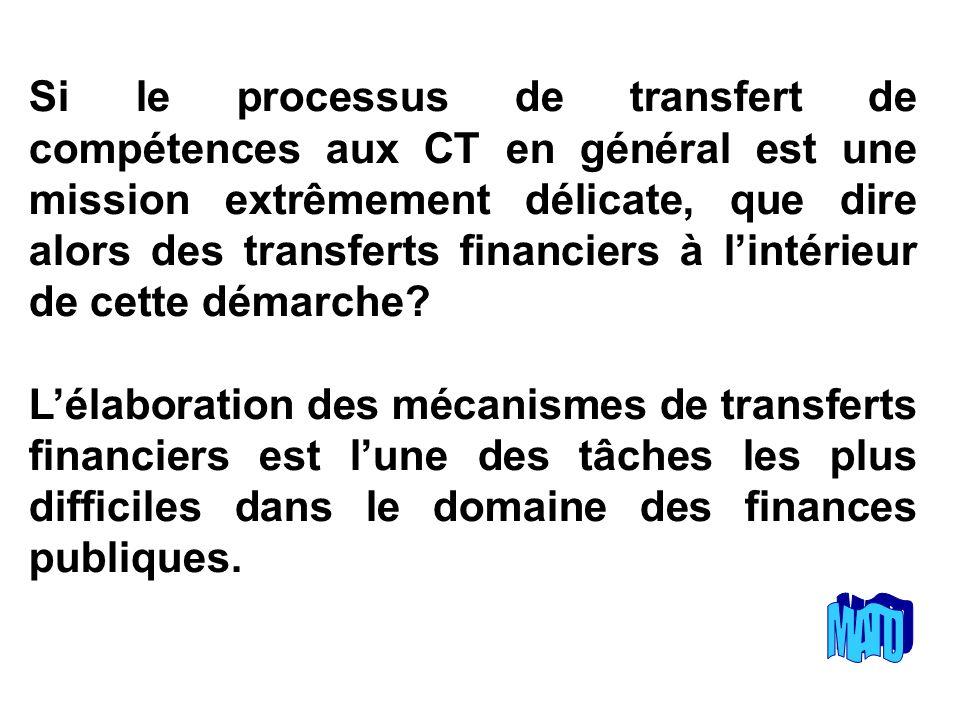 Si le processus de transfert de compétences aux CT en général est une mission extrêmement délicate, que dire alors des transferts financiers à lintérieur de cette démarche.